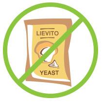 La ricetta non contiene nessun tipo di lievito: di birra, agenti lievitanti, pasta madre